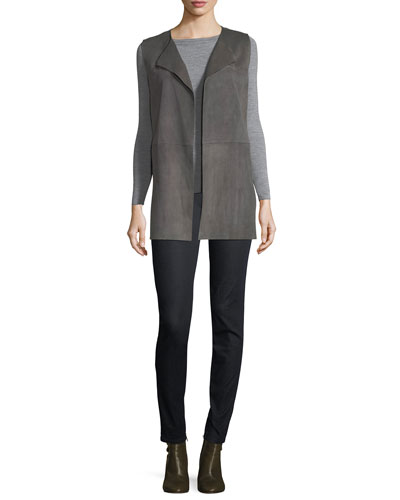 Tamma Suede Vest w/ Embroidered Cutout Detail and Matching Items