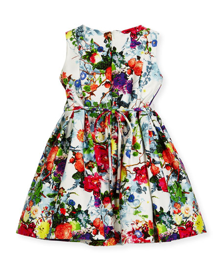 Sleeveless Pleated Floral Dress, Size 7-14