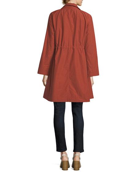 High-Collar Knee-Length Organic Cotton Jacket
