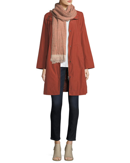 High-Collar Knee-Length Organic Cotton Jacket