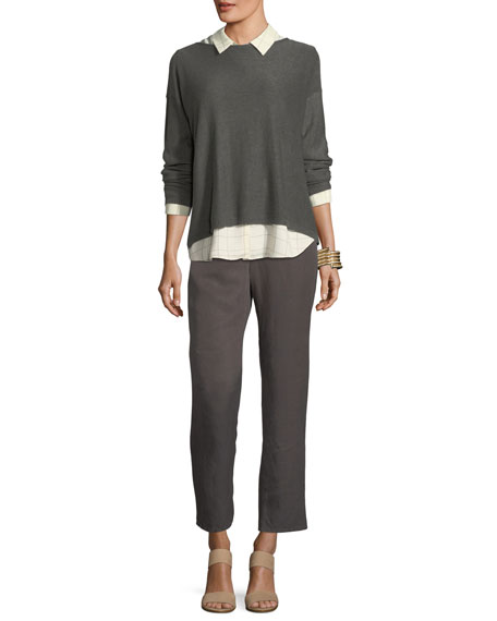 Tapered Linen Ankle Pants