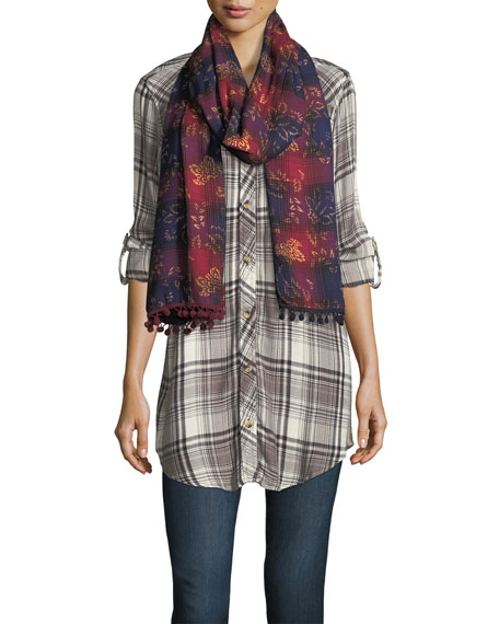 Oblong Ombre Plaid Scarf w/ Pompom Edges