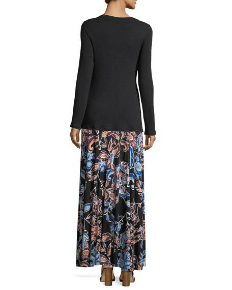 Long Full Folk Floral Printed Jersey Skirt