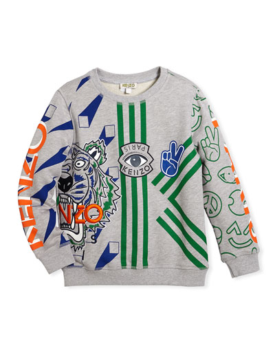 All-Over Logo Tiger Print Sweatshirt, Size 8-12 and Matching Items