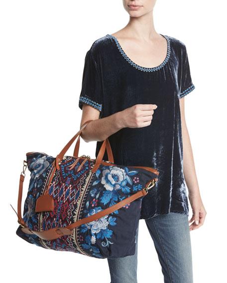 Dexter Velvet & Embroidered Georgette Tee