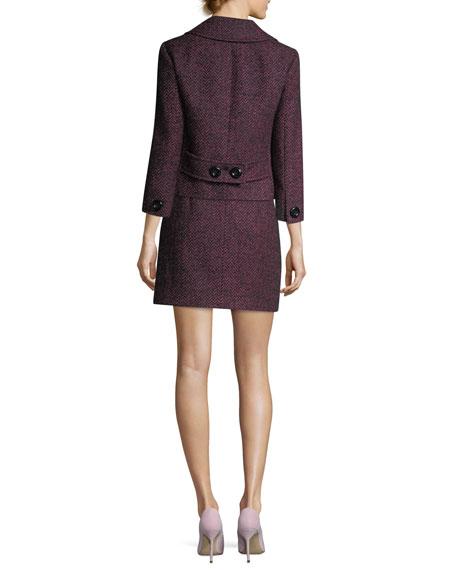 Herringbone Tweed Cropped Jacket