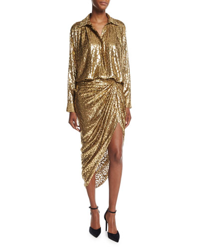 Metallic Cheetah Fil Coupe Sarong Skirt and Matching Items