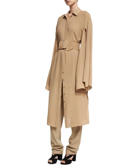 Silk Georgette Slit-Sleeve Midi Shirtdress