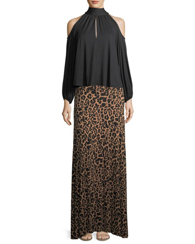 Animal-Print Long Full Convertible Skirt, Plus Size and Matching Items