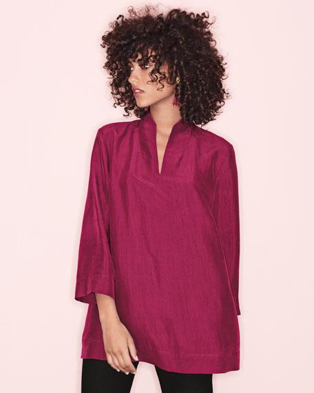 3/4-Sleeve High-Collar Doupioni Silk Blouse, Hibiscus