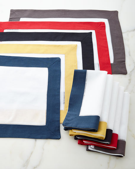 Color Border Hemstitch Napkins, Set of 4