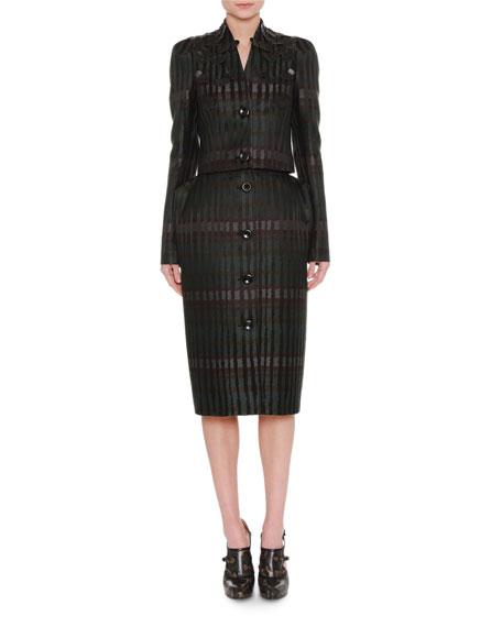 Button-Front Jacquard Pencil Skirt