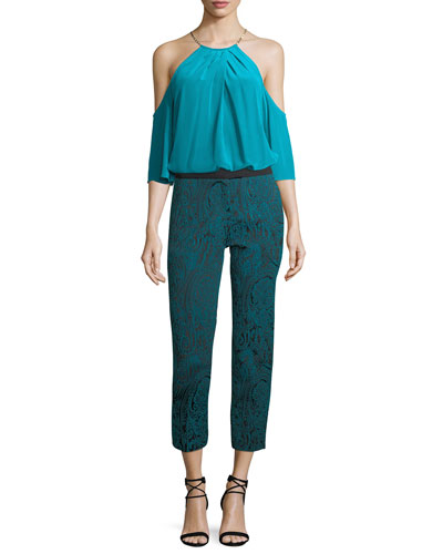 Paisley Jacquard Slim Straight-Leg Pants and Matching Items