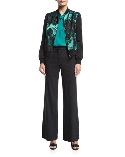 Bow-Tie Pleated Long-Sleeve Silk Blouse and Matching Items