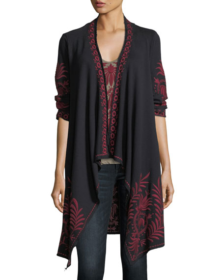 Saskla Embroidered French Terry Cardigan