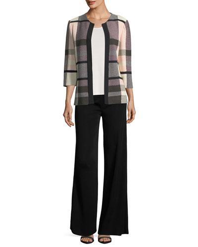 Plaid 3/4-Sleeve Jacket  and Matching Items, Petite