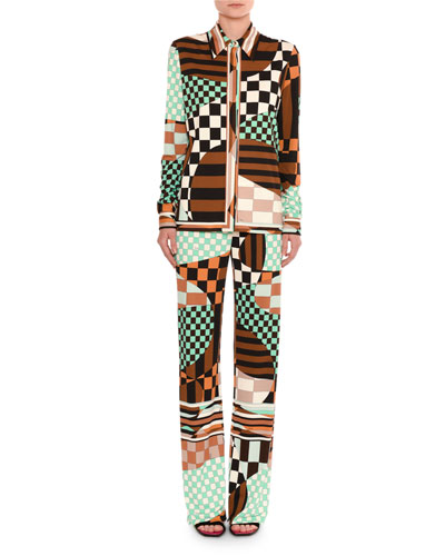 Retro Geometric Optical-Print Shirt and Matching Items
