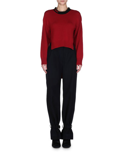 High-Waist Ankle-Tie Gabardine Pants and Matching Items