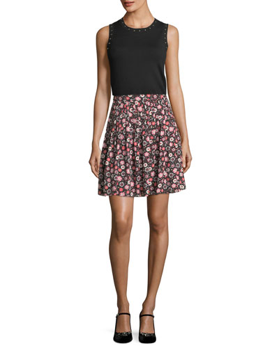 casa floral-print high-waist pleated mini skirt and Matching Items