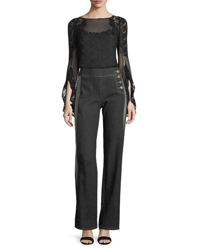Carrie Boat-Neck Embroidered Mesh Blouse and Matching Items
