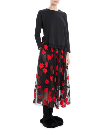 Floral-Embroidered Tulle Midi Skirt and Matching Items