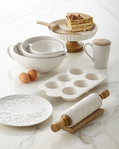 Etched Floral Ceramic Tableware