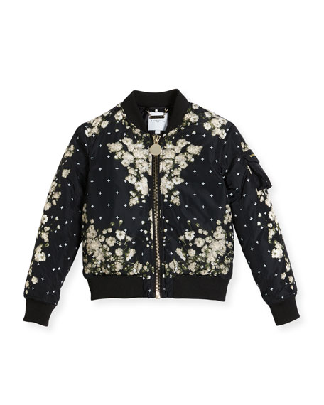 Baby's Breath Print Puffer Bomber Jacket, Size 4-5