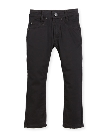 Jeans w/ Faux-Leather Trim, Black, Size 4-5