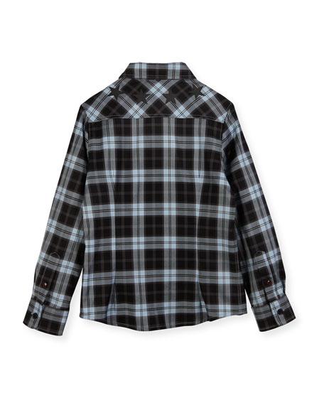 Long-Sleeve Checkered Star Button-Down Shirt, Size 6-10