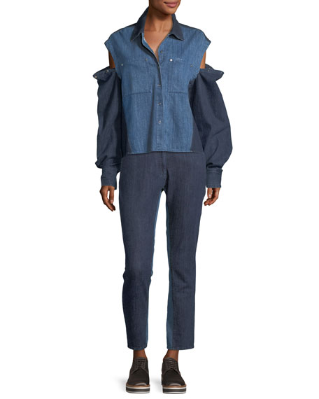 Quasay Snap-Sleeves Two-Tone Denim Shirt