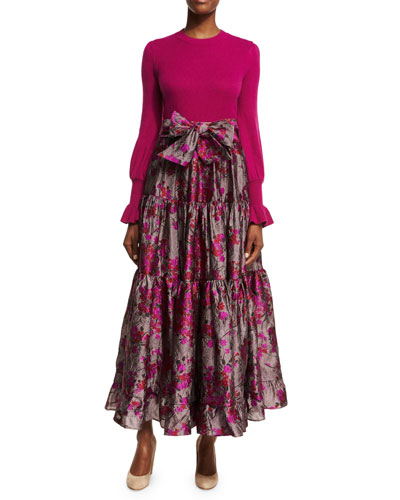 Floral Metallic Jacquard Maxi Skirt and Matching Items