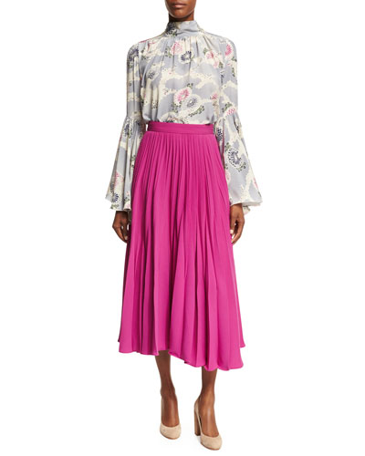 Mum-Print Silk Crepe Bell-Sleeve Top and Matching Items