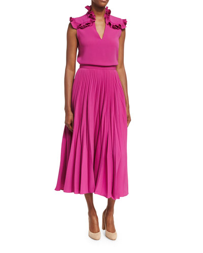 Reverse-Pleated Midi Skirt and Matching Items