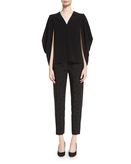 Stretch-Crepe Cocoon-Sleeve Top