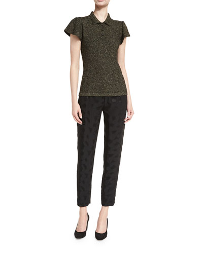 Mosaic Jacquard Pleat-Front Ankle Pants and Matching Items