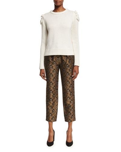 Brocade Pleat-Front Ankle Pants and Matching Items