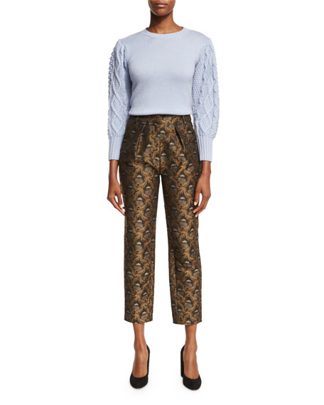 Brocade Pleat-Front Ankle Pants