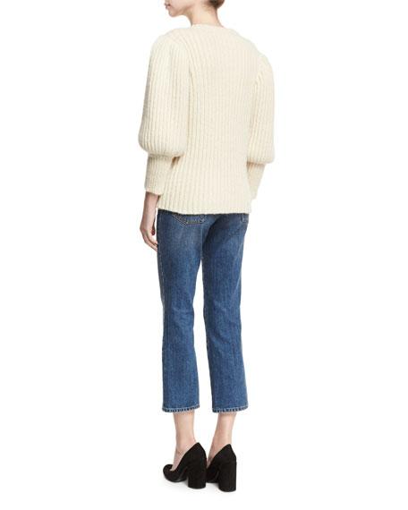 Ribbed Balloon-Sleeve Sweater