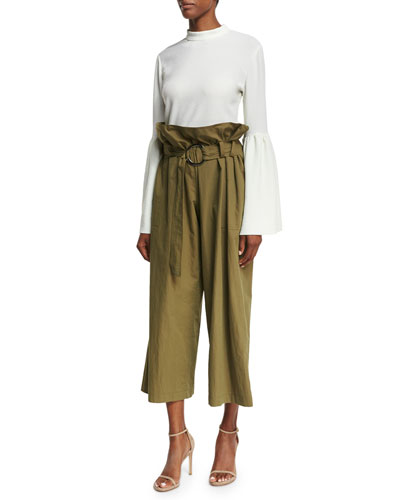 Marta Mock-Neck Trumpet-Sleeve Crepe Blouse and Matching Items