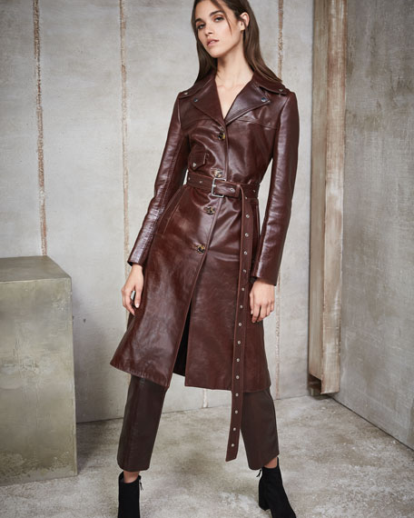 Leather Button-Front Belted Biker Coat