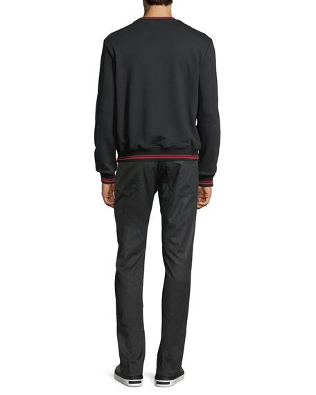 Coated Straight-Leg Jeans