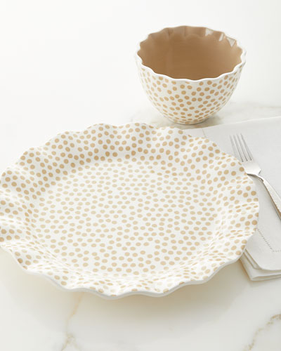 Small-Dot Ruffle Salad Plates, Set of 4 and Matching Items