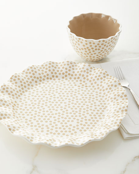 Small-Dot Ruffle Salad Plates, Set of 4