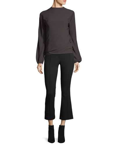 Cropped Mid-Rise Flared Wool Pants and Matching Items