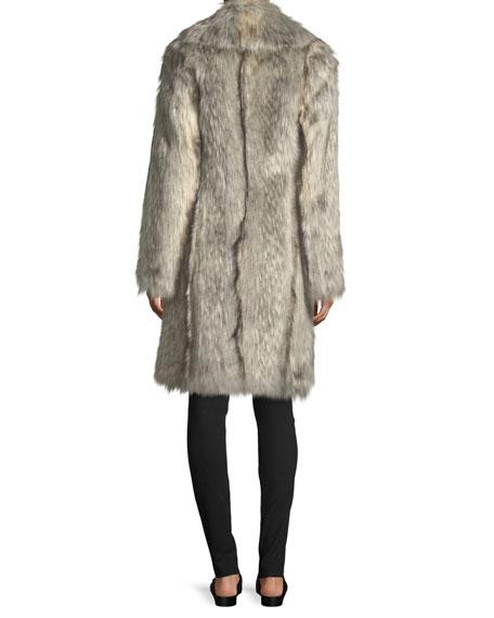 Faux-Wolf Long-Sleeve Shawl-Collar Coat