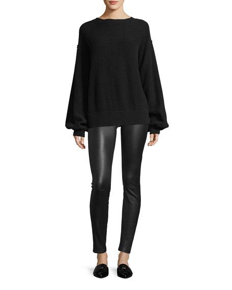 Air-Spun Wool-Cashmere Blouson-Sleeve Pullover Sweater