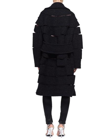 Slashed Tweed Caban Coat