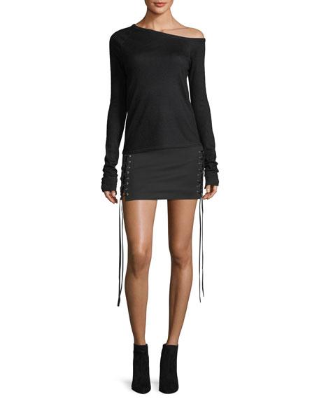 One-Shoulder Long-Sleeve Wool Knit Top