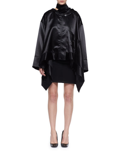 Oversized Satin Cape Coat and Matching Items
