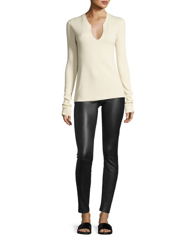 Split-Neck Long-Sleeve Cotton Thermal Top and Matching Items